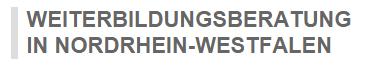 Logo WEITERBILDUNGSBERATUNG IN NORDRHEIN-WESTFALEN